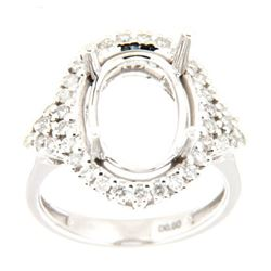 Genuine 14K White Gold 0.6CTW Diamond Semi Mount Ring - REF-92M2F