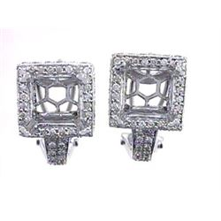 Genuine 14KWhite Gold 0.91CTW Diamond Semi-Mount Earrings - REF-106Z6T