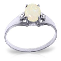 0.46 ctw Opal & Diamond Ring Jewelry 14KT White Gold