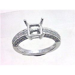Genuine 14K White Gold 0.54CTW Diamond Semi Mount Ring - REF-87Z6T