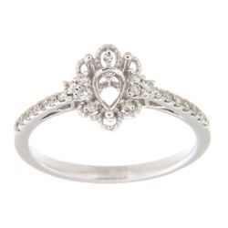 Genuine 14K White Gold 0.22CTW Diamond Semi Mount Ring - REF-36A2X