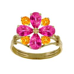 2.43 ctw Pink Topaz & Citrine Ring Jewelry 14KT White Gold