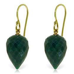 25.8 ctw Green Sapphire Corundum Earrings Jewelry 14KT Yellow Gold