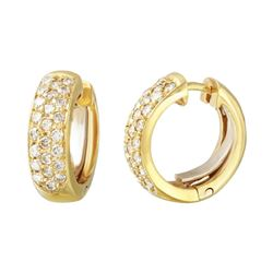 Genuine 1.01 TCW 18K Yellow Gold Ladies Earring - REF-140A9X