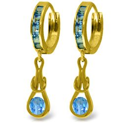 2.5 ctw Blue Topaz Earrings Jewelry 14KT Yellow Gold
