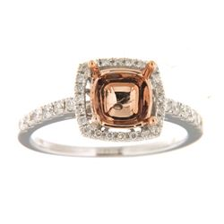 Genuine 14K Two Tone Gold 0.37CTW Diamond Semi Mount Ring - REF-56A3X