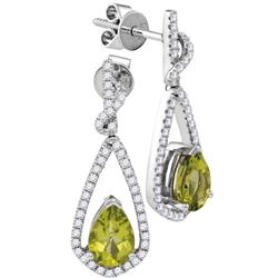 0.30CT Diamond and 0.50CT Peridot Anniversary 14KT Earrings White Gold