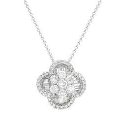 Genuine 1.89 TCW 18K White Gold Ladies Necklace - REF-259N2A