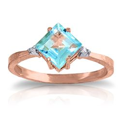 1.77 ctw Blue Topaz & Diamond Ring Jewelry 14KT Rose Gold