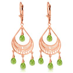 6.75 ctw Peridot Earrings Jewelry 14KT Rose Gold