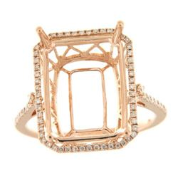 Genuine 14K Rose Gold 0.32CTW Diamond Semi Mount Ring - REF-56H5W