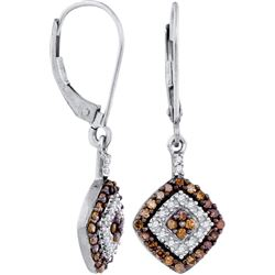 0.50CTW White and Champagne Diamond Anniversary 10KT Earrings White Gold