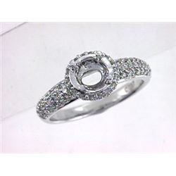 Genuine 14K White Gold 0.57CTW Diamond Semi Mount Ring - REF-55F2N