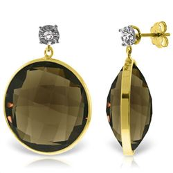 34.06 ctw Smoky Quartz & Diamond Earrings Jewelry 14KT Yellow Gold