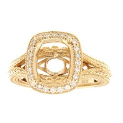 Genuine 14K Yellow Gold 0.26CTW Diamond Semi Mount Ring - REF-59N8A