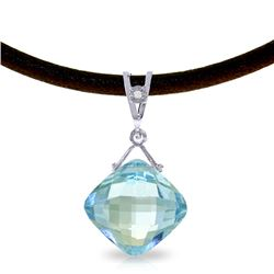 8.76 ctw Blue Topaz & Diamond Necklace Jewelry 14KT White Gold
