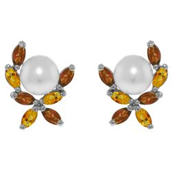 3.25 ctw Pearl & Citrine Earrings Jewelry 14KT White Gold