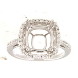 Genuine 14K White Gold 0.4CTW Diamond Semi Mount Ring - REF-73A3X