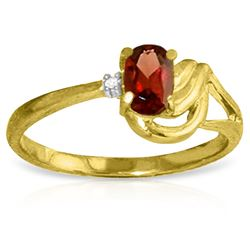0.46 ctw Garnet & Diamond Ring Jewelry 14KT Yellow Gold