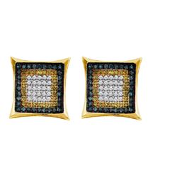 0.33CTW White and Blue Diamond Micro-Pave 10KT Earrings Yellow Gold