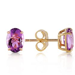 1.80 ctw Amethyst Earrings Jewelry 14KT Yellow Gold