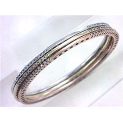 Genuine 14K Tri Color Gold 2.3CTW Diamond Bangle - REF-383H2W