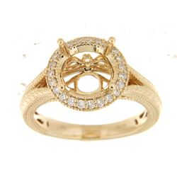 Genuine 14K Yellow Gold 0.25CTW Diamond Semi Mount Ring - REF-61R8H