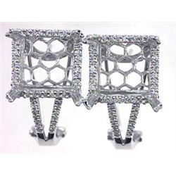 Genuine 14KWhite Gold 0.53CTW Diamond Semi-Mount Earrings - REF-103H6W
