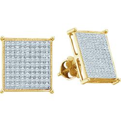 0.10CT Diamond Micro-Pave 10KT Earrings Yellow Gold