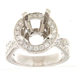 Genuine 14K White Gold 1.15CTW Diamond Semi Mount Ring - REF-160G9M
