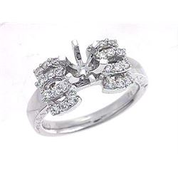 Genuine 18K White Gold 0.37CTW Diamond Semi Mount Ring - REF-100T4K