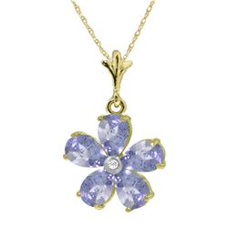 2.22 ctw Tanzanite & Diamond Necklace Jewelry 14KT Yellow Gold