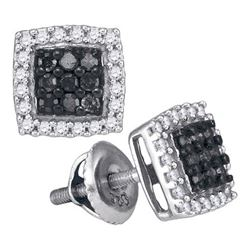 0.50CTW White and Black Diamond Micro-Pave 10KT Earrings White Gold