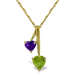 1.40 ctw Peridot & Amethyst Necklace Jewelry 14KT Yellow Gold