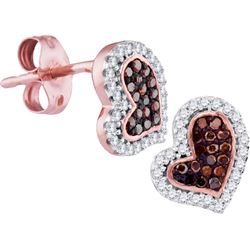 0.02CTW White and Champagne Diamond Heart 10KT Earrings Rose Gold