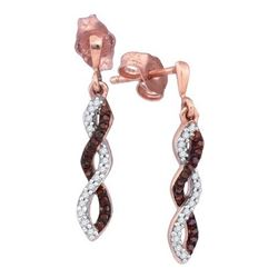 0.02CTW White and Champagne Diamond Micro-Pave 10KT Earrings Rose Gold