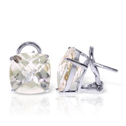 7.2 ctw White Topaz Earrings Jewelry 14KT White Gold