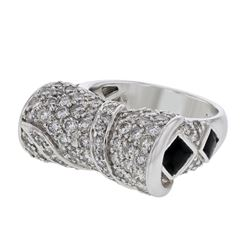 Genuine 14K White Gold 3CTW Diamond&Baguette Fashion Ring - REF-297X2Y