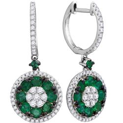 0.50CT Diamond and 1CT Emerald Anniversary 18KT Earrings White Gold