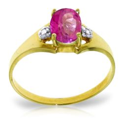 0.76 ctw Pink Topaz & Diamond Ring Jewelry 14KT Yellow Gold