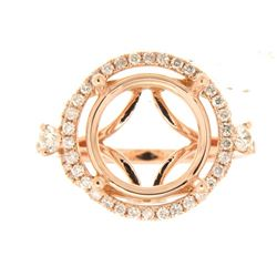 Genuine 14K Rose Gold 0.67CTW Diamond Semi Mount Ring - REF-94A2X