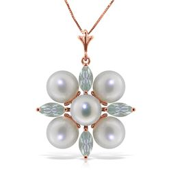 6.3 ctw Aquamarine & Pearl Necklace Jewelry 14KT Rose Gold