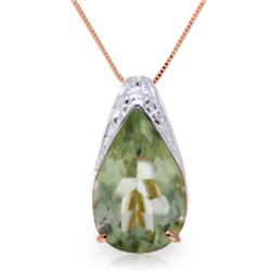 5 ctw Green Amethyst Necklace Jewelry 14KT Rose Gold