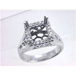 Genuine 14K White Gold 0.21CTW Diamond Semi Mount Ring - REF-70H8W