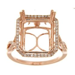 Genuine 14K Rose Gold 0.41CTW Diamond Semi Mount Ring - REF-68Z8T