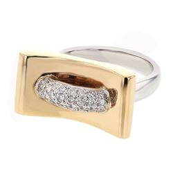 Genuine 14K Two Tone Gold 0.36CTW Diamond Fashion Ring - REF-80X6Y
