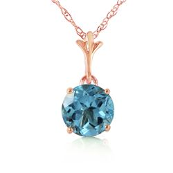 1.15 ctw Blue Topaz Necklace Jewelry 14KT Rose Gold