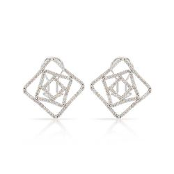 Genuine 0.94 TCW 14K White Gold Ladies Earring - REF-90A2X