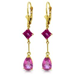 4.95 ctw Pink Topaz Earrings Jewelry 14KT Yellow Gold