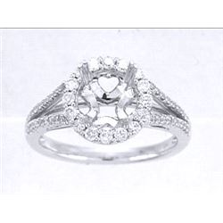 Genuine 14K White Gold 0.5CTW Diamond Semi Mount Ring - REF-60R3H